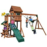 Swing-N-Slide PB 8331 Playful Palace Swing Set with Slide, Swings, Wood Roof, Picnic Table & Climbing Wall, Wood, Green