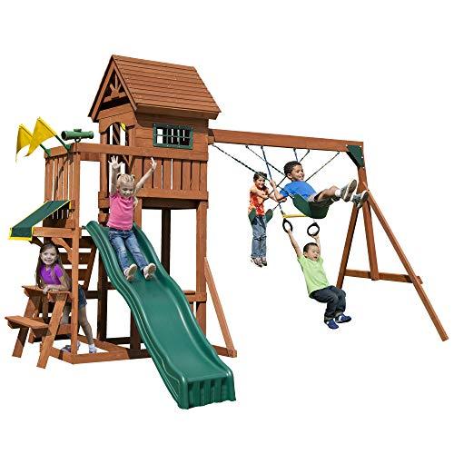 Swing-N-Slide PB 8331 Playful Palace Swing Set with Slide, Swings, Wood Roof, Picnic Table & Climbing Wall, Wood, Green