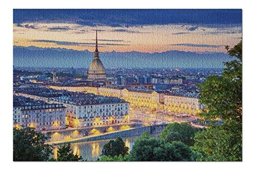 ugongchengyouxi Torino, Italia - Veduta Aerea della Città al Tramonto A-9011671 29,5 * 19,7 Pollici 1000 Pezzi di Puzzle