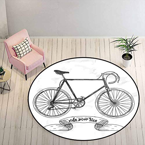 Round Area Rug Ride Your Bike Lettering with Nostalgic Mountain Bike Hand Drawn Sketchy Indoor Area Rug/Mat Can Be Dry Cleaned Charcoal Grey White Diameter - 1.3 Feet