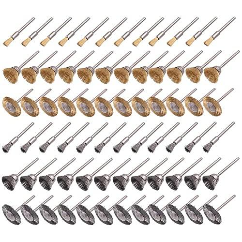 WOVELOT Juego de Cepillos de Rueda de Alambre de 72 Piezas, Juego de Cepillos de Cobre y Alambre Adecuado para Herramientas Giratorias de Pulido y Limpieza