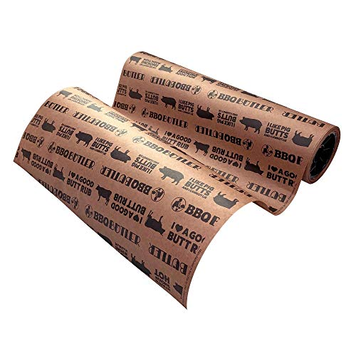 Bbq Butler Pink Butcher Paper - Kraft, Peach Paper - Brisket Smoking Paper - Paper For Wrapping Meat - Smoker Supplies - Smoking Accessories - Cooking Paper - Printed Roll, 18 in x 100 ft
