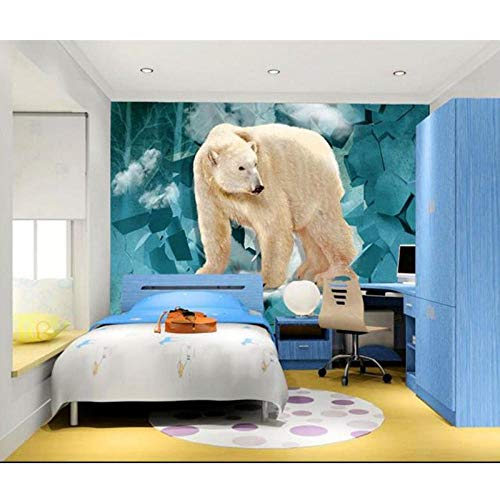 3D Photo Wallpaper Mural,Kids Room Wall Breaking Animal Polar Bear Photo Sofa TV Background Wall Non-Woven,Sticker 280 cm (W) x 180 cm (H)