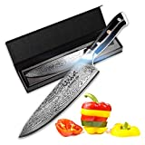Chef Knife 8 Inch, Damascus Japanese VG10 Super Stainless Steel Blade Lasts a Lifetime, Sharpest...
