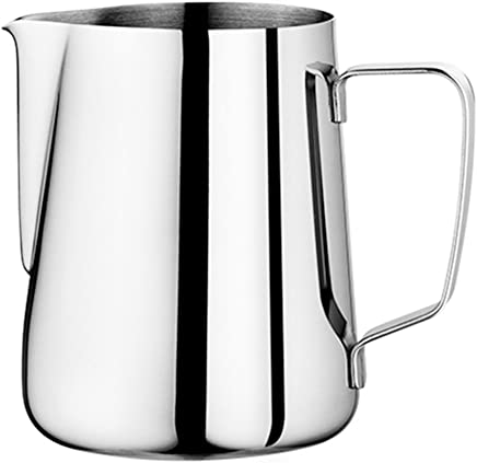 Milk Pitcher - Duolo Stainless Steel Creamer Coffee Milk Frothing Pitcher Cup With Dripless Pouring Spout - Perfect for Espresso Machine, Cappuccino Hot Milk Frother and Latte Maker (20-Ounce/600ML)