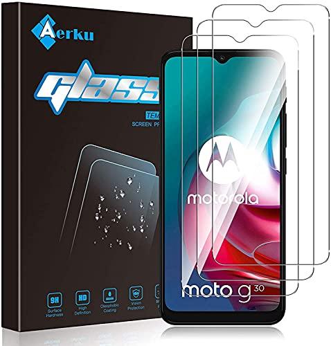 Aerku Panzerglas Schutzfolie für Motorola Moto G20 / Moto E7 Plus/Moto E7i Power, 9H Festigkeit HD Anti-Kratzer Folie Ultra Glatte Film Bildschirmschutzfolie Blasenfreie Panzerglasfolie [3Stück]-Transparent