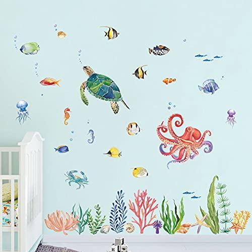 decalmile Wandtattoo Aquarelle Unter dem Meer Wandaufkleber Fische Schildkröte Ozean Wandsticker Babyzimmer Kinderzimme Badezimmer Wanddeko