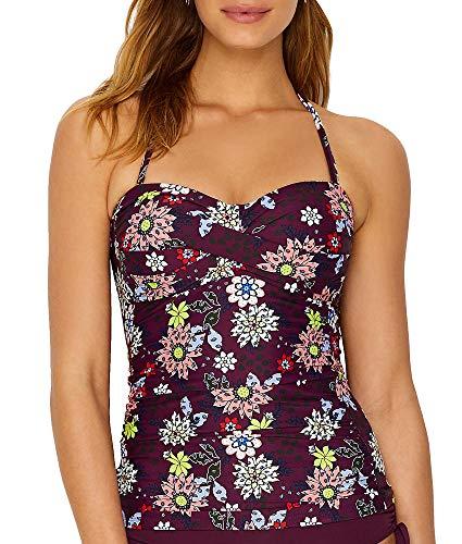 Anne Cole Women's Twist Front Shirred Bandeau Tankini Swim Top, in Full Bloom Floral, Medium