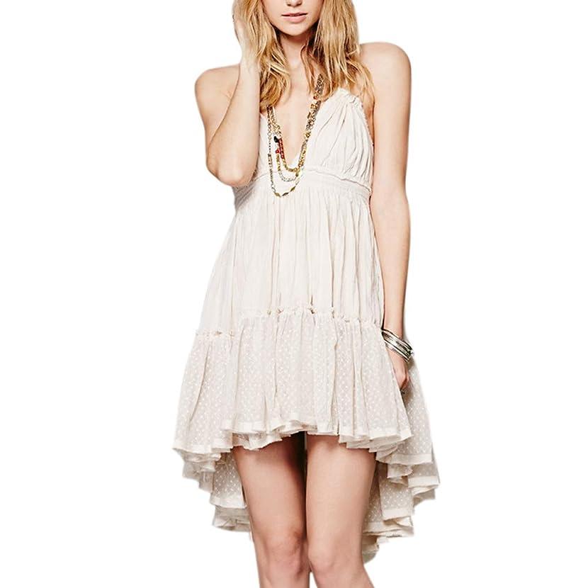 Leoattend Women's Dress Boho Solid Color Sling Backless Hippie Bohemian Beach Date Party Halter Dress