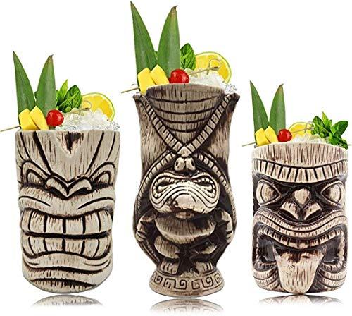 Tiki Mugs Set – Large Ceramic Tiki Mug, Cocktail Mugs for Mai Tai, Punch, Pina Colada, and Tropical bar Drinks (TIKISET)