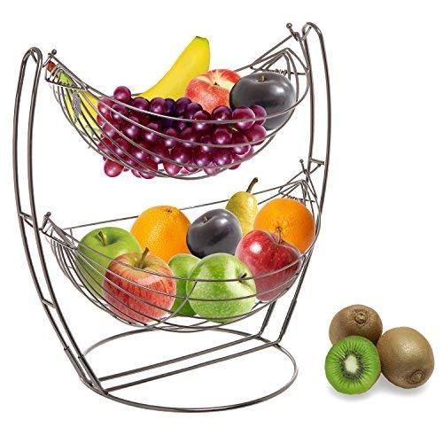 Gun Metal Double Hammock 2 Tier Fruit/Vegetables/Produce Metal Basket Rack Display Stand - MyGift