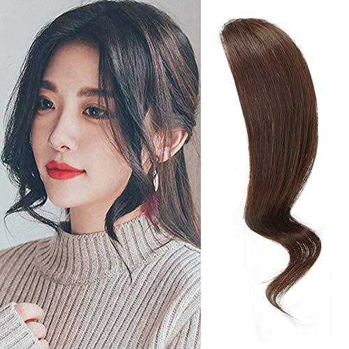 Dsoar 2PCS Wave Side Bangs Real Human Hair Clip in Bangs Wave Fringe Hair Extensions(Dark Brown)