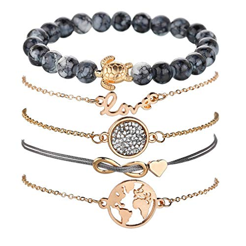 VONRU Beaded Bracelets for Women - Adjustable Charm Pendent Stack Bracelets for Women Girl Friendship Gift Rose Quartz Bracelet Links with Pearl Golds Plated 5pcs/Set (Turtle & Map)
