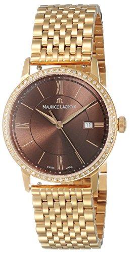 Maurice Lacroix Eliros Date Ladies Quartz Uhr, Gold 24k, Diamanten, 30 mm, braun
