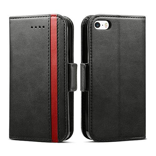 Rssviss iPhone 5 Hülle, Premium Lederhülle [1 Kartenfächer ] iPhone 5s Handyhülle iPhone 5S Case mit [Magnetverschluss ] für iPhone 5/5S/SE,4.0 Zoll,Schwarz (W5)