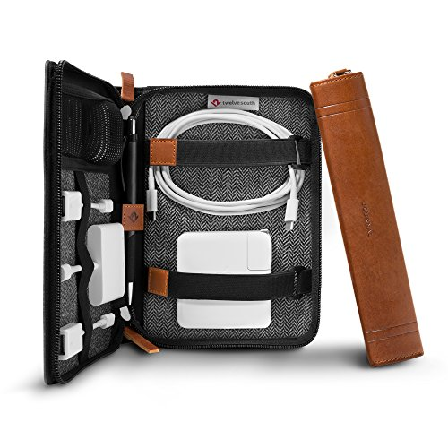 Twelve South Journal CaddySack | Luxury Leather Travel Tote for Chargers, Cables & adapters