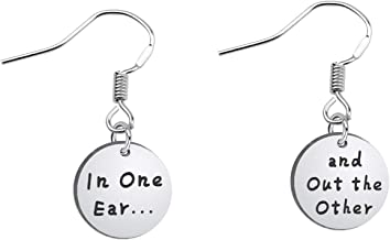 SEIRAA Funny Earrings in One Ear and Out The Other Earrings Stainless Steel Tone Earring Wires for her