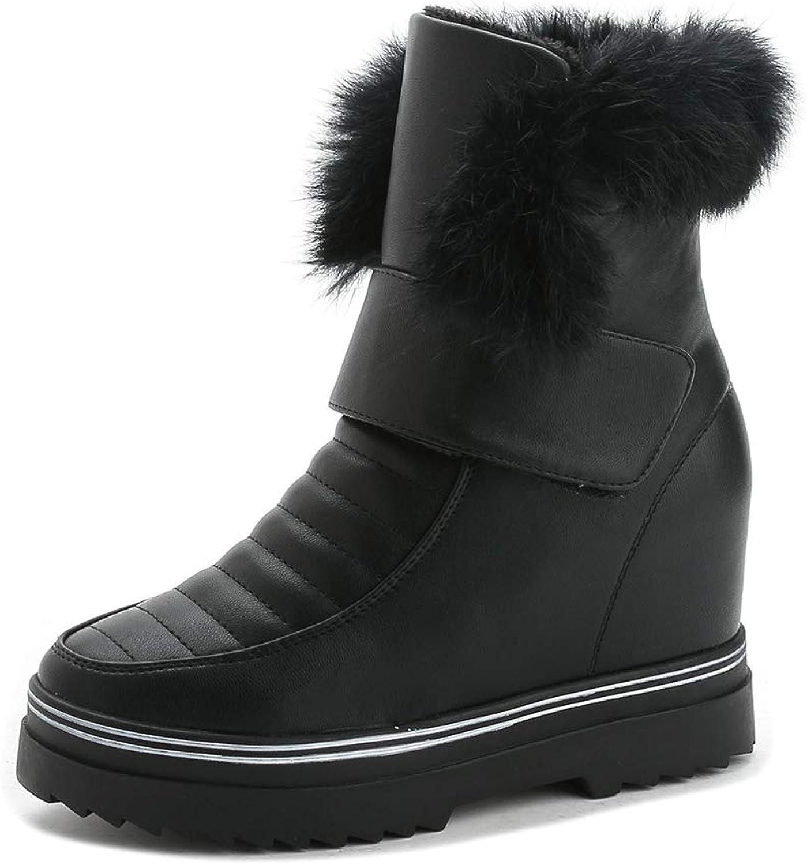 CYBLING Women's Fur Lining Hidden Wedge Winter Boots Hook and Loop Outdoor Waterproof Snow Boots