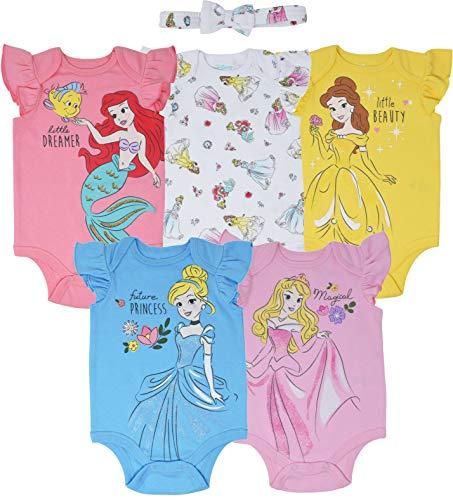Disney Princess Cinderella Belle Aurora Ariel Baby Girls 5 Pack Bodysuit 12 Months