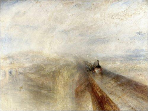 Posterlounge Lienzo 80 x 60 cm: Rain, Steam and Speed de Joseph Mallord William Turner - Cuadro Terminado, Cuadro sobre Bastidor, lámina terminada sobre Lienzo auténtico, impresión en Lienzo