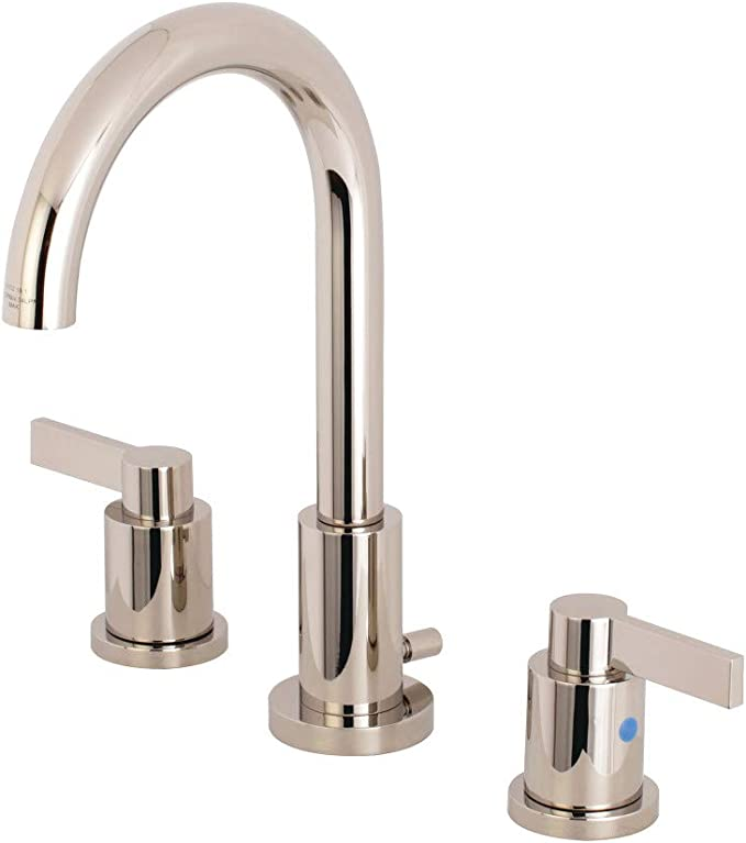 Polished Chrome Kingston Brass FSC8961NDL Kingston Brass Nuvofusion Widespread Lavatory Faucet with Retail Pop-Up 5-1//2 Inch Spout Reach 5-1//2 Inch Spout Reach