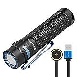OLIGHT S2R BATON II Lampe Torche LED Puissante Rechargeable 1150 Lumens Longue Autonomie Portée de 135 Mètres, Chargeur MCC II Magnétique, Mode Turbo Stroboscope et Bouton Latéral Possible
