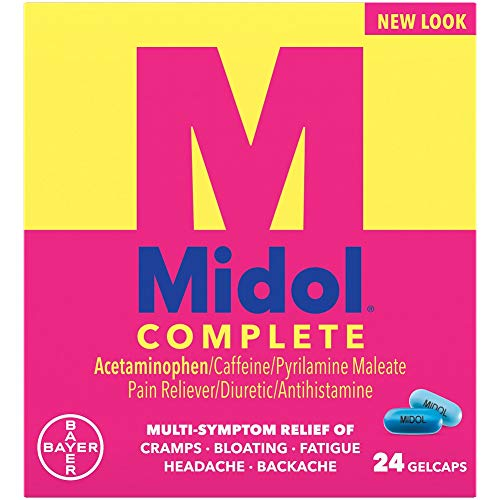 Midol Complete, Menstrual Period Symptoms Relief Including Premenstrual Cramps, Pain, Headache, and Bloating, Gelcaps, 24 Count, Packaging May Vary