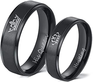 Couples Promise Rings for Him Her King Queen Crown Engraved Black Titanium Stainless Steel Wedding Engagement Rings for Couples BF GF