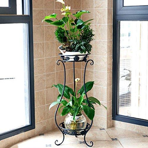 ZHANWEI Etagère à fleurs Porte Pots pour Fleurs et Plantes Art de fer 2 étages Multifonctionnel Au sol Style européen Assemblée Intérieur / extérieur, 3 couleurs, 33 * 28 * 80 cm / 30 * 24,5 * cm ( Couleur : Noir , taille : L )