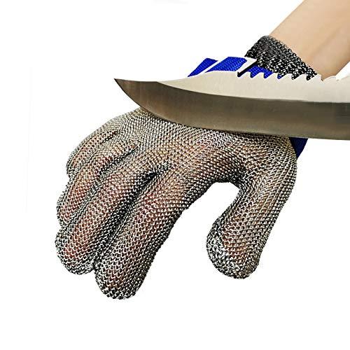 EMERIUM guantes anticortes - malla metalica - Guantes Cocina - Malla metalica fina - guantes metalicos cocina - guantes carnicero - guantes anticortes cocina - guante malla - guantes protectores (M)