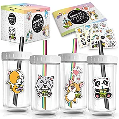 4-Pack Reusable Bubble Tea Cup Set – 22oz Glass Boba Tea Cups with Lids & Straws – Bubble Tea Gift Set Includes Recipe Book & Stickers - Reusable Boba Cup for Milk Tea & Smoothie & Iced Coffee