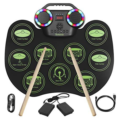 Batería Electrónica E-Drum Kit, Bonvvie Tambor Digital Enrollable Portátil Recargable con 9 Pads, MIDI, DTC, Altavoces Integrados, Ideal para Niños, Estudiantes, Principiantes, Entusiastas
