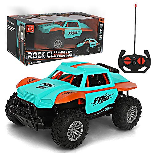LBLA Coche Teledirigido, 4WD RC Desert Cross Country Truck, Coche Radiocontrol Todoterreno a Bateria con Mando 1:16, Juguete Regalo para Niños (Azul)