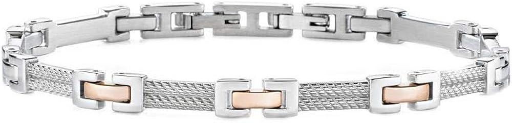 Morellato, braccialetto a catenina per uomo,in  acciaio_inossidabile e pvd oro rosa SKR37