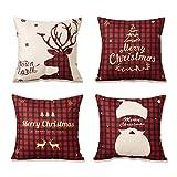 YKULEW - Juego de 4 fundas de almohada de 45 x 45 cm, cuadradas, de algodón, lino y algodón, diseño de copo de nieve, para sofá cama, cojín (Navidad 2)