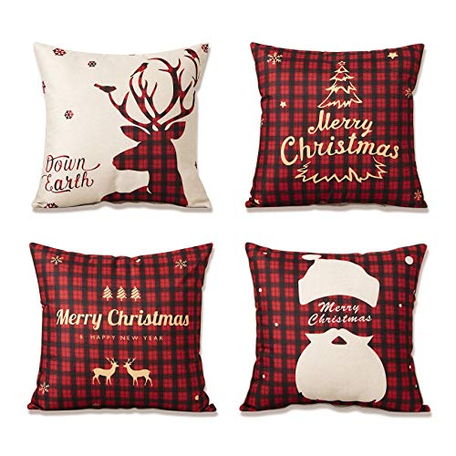 YKULEW Set of 4 pillow cover, 45 x 45 cm Square Cushion...