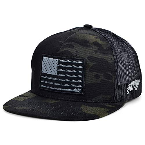 HOOEY Liberty Roper Adjustable Trucker Hat with Logo (Camo/Black)
