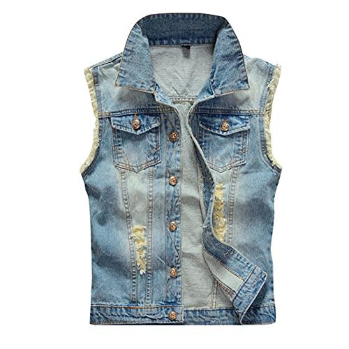 GAOHONGMEI Hombre Clásico Sin Mangas Denim Chaleco Casual Jeans Gilet Chaqueta Agujeros Rotos Cowboy Slim-Fit Chaleco Outerwear Light Blue-XXL