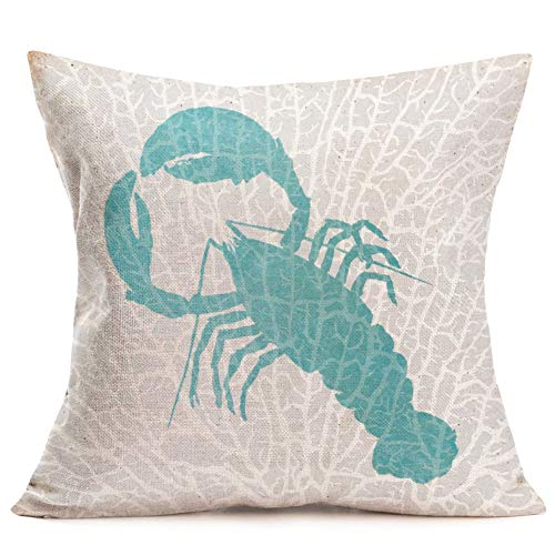 Smilyard Vintage Fresh Seafood Throw Pillow Covers Big Lobster Home Decorative Pillowcase Cotton Linen Cushion Cover 18X18 Inch for Couch Bedroom Decor (Lobster)