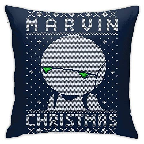 WH-CLA Couch Cushions Marvin Christmas Hitchhikers Guide To The Galaxy Knit Pattern Anime Habitáculos Personalizados 45 X 45 Cm Cama De Fiesta con Cremallera Suave Funda De Almohada para