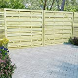 Festnight- Gartentore 2 STK. | Gartenzaun-Tor | Gartentor | Zauntor | Garten Holztor | Eingangstor | Grün Imprägniertes Kiefernholz 150 x 200/150/100 cm