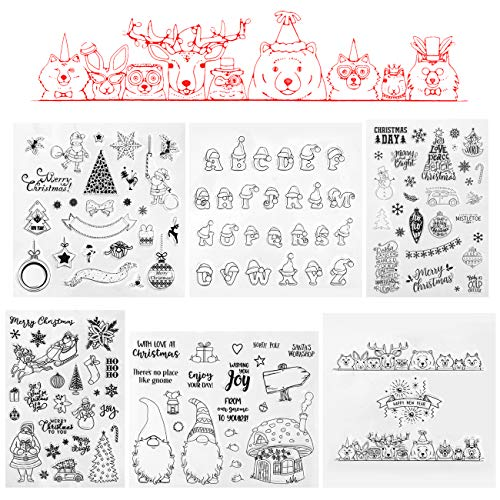 KESOTE 6 Pack Christmas Clear Stamps for Scrapbooking and Card Making, Xmas Happy New Year Alphabet Stamps for Journaling DIY Album