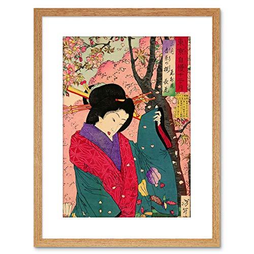 Wee blauwe Coo schilderij GEISHA JURK CHIKANOBU JAPAN FRAMED PRINT F97X3130