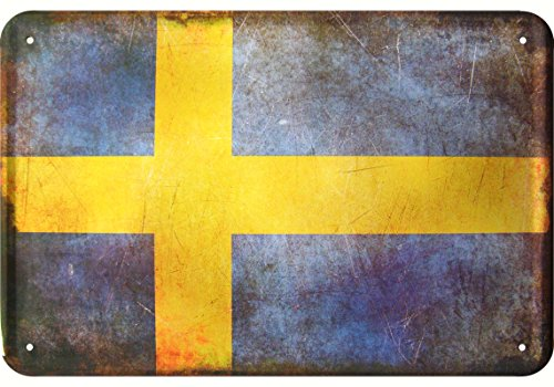 Schweden Flagge Blechschild Sweden Flag Tin Sign Vintage style