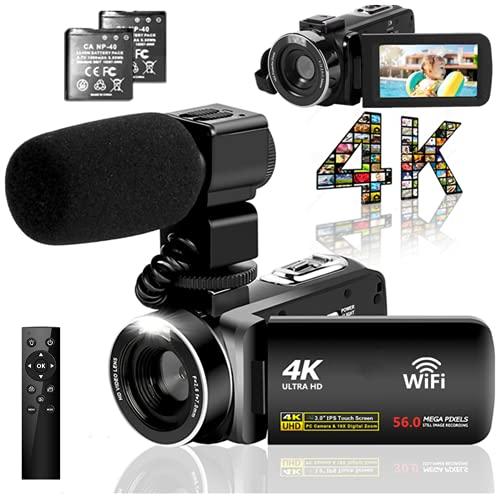 ビデオカメラ 4K YouTubeカメラ5600万画素 WIFI機能 18倍デジタルズーム 外付けマイク 3インチタッチモニター HDMI出力IRナイトビジョン機能vloggingカメラ日本語システム+説明書(ベシックセット)360°ワイヤレスリモコン予備バッテリー