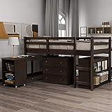 Harper&Bright Designs Low Study Twin Loft Bed with Desk and Cabinet (Espresso)