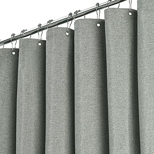BTTN Grau Textil Duschvorhang, 230 GSM Hotel Hoher Qualität Leinen Texturiert Duschvorhänge Set mit 12 Haken, Anti-Schimmel Wasserdicht & Beschwerter Saum für Badezimmer (B183 * H183 cm)