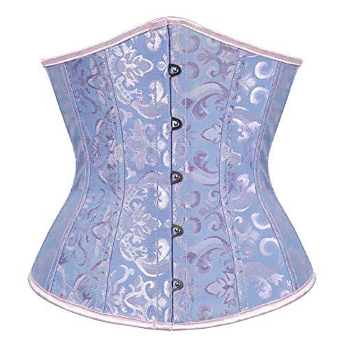 WMYATING El corsé da forma a la figura perfecta, lleva un corsé gótico sexy de satén para mujer, corsé de cintura adelgazante, corsé Bustiers (color: 9427 azul, tamaño: XXXL)
