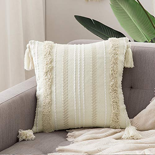 MIULEE Decorative Throw Pillow Cover Tribal Boho Woven Tufted Pillowcase with Tassels Super Soft Square Pillow Sham Cushion Case for Sofa Couch Bedroom Car Living Room 20X20 Inch Cream White