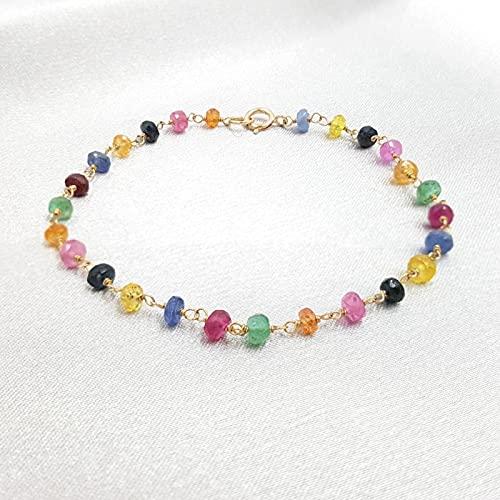 DALIU Zafiro arcoíris Natural Rubí Esmeralda Plata de Ley 925 Color Dorado Pulsera Brillante Tejida a Mano